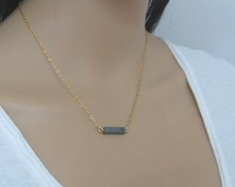 Hematite necklace, gemstone bar necklace, black bar necklace, cube necklace, black stone necklace