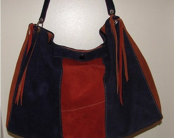 "Vintage Style Navy Rust and Tan Suede Satchel Tote Purse Designer Handbag Color Block Hobo Bag  Purse ""CYNTHIA"" Handmade by Debbie Leather"