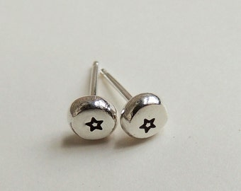 Recycled Sterling Silver Stamped Star Stud Earrings