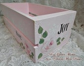 Christmas Card Box, Hope, Joy, Snowflakes and Roses, Pink Crate, Box Holder, Original Design, ECS