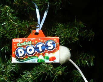 Mouse in a Christmas Dots Candy Box Christmas Ornament