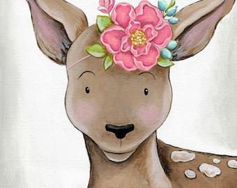 Fischtales Deer Floral Art Print Childrens Art Print