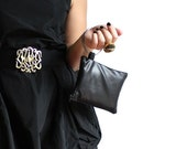 Small Black Bracelet Wristlet with silver bangles