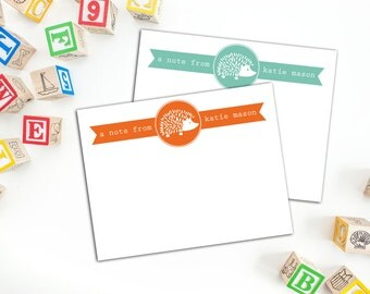 Hedgehog Banner Personalized Flat Notecards