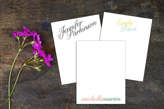 Simple Calligraphy Personalized Note Card with Envelopes, Set of 10 Note Cards, Elegant Thank You Cards, Customized Note Cards, Custom Color