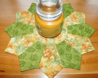 Golden leaves and green Reversible Candlemat; Miniature Quilt; Small Quilt;Table mat