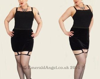 Stretch Velvet Mini Suspender Skirt, Custom Size