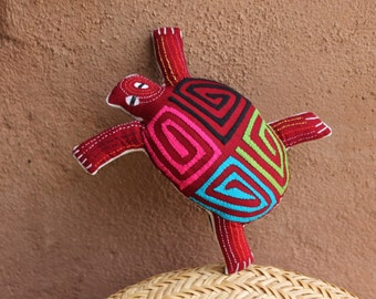 Absolutely Adorable Stuffed Mola Sea Turtle - Pillow - Hand Sewn Kuna Indian Reverse Applique
