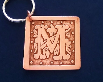 Etched Copper Keychain or Key Ring