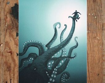 Giant Octopus - A4 Digital Print - Illustration