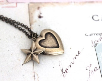 star. heart locket necklace. in brass ox jewelry