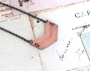 chevron. necklace in copper ox jewelry with double chevrons
