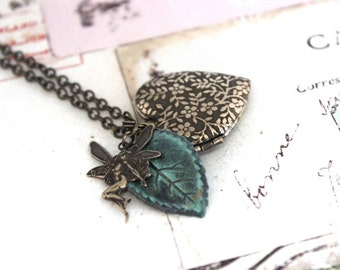 fairy locket. flower vine necklace. brass ox jewelry and patina