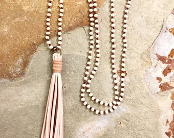 Leather and crystal tassel necklace