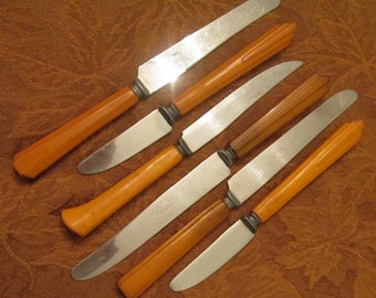 Butterscotch Bakelite Flatware - Six Assorted Bakelite Flatware Knives