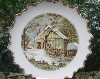 Currier & Ives Wall Art - Three Porcelain Plates for Hanging - Collectible Plates