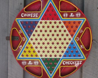 Vintage Tin Ohio Art Checker Board - Game Room Wall Decor