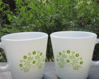 Vintage Pyrex - Two Mugs and Matching Creamer - Summer Impression Lime