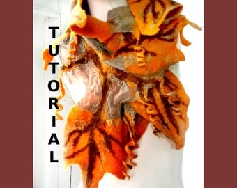 Nuno Felt PDF Tutorial Pattern Wet Felted Leaf Scarf for Beginner Feltmakers  Instant Download