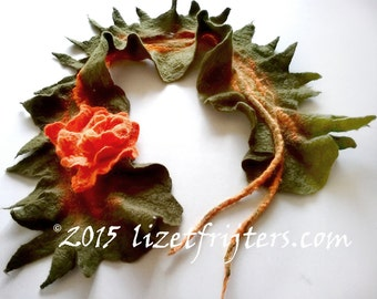 20% OFF - Green Nuno Felted Scarflette - Neckpiece  Rose of Love Eco Fashion - Fibre Art with Orange Felted Flower