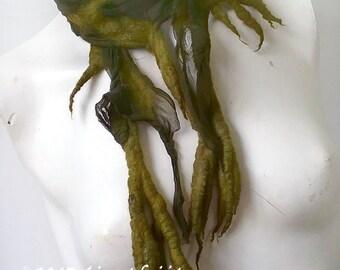 Dark Green Fairy Nuno Felted Scarf -  Short Summer Scarf