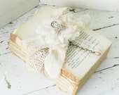 Old Rustic Book Bundle Embellished w/ Vintage Ecru Lace~ Rhinestones~Millinery Flower~Shabby Photo Prop~ Wedding Decor