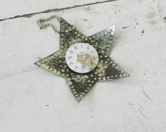 Old Punched Metal Star Reflector Christmas Ornament w/ Vintage Watch Face Rhinestones Package Add On Whimsy Decor