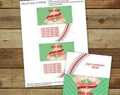 Baseball Valentine's Day treat bag topper, printable baseball valentine treat, editable pdf, instant download