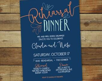 Casual rehearsal dinner invitation, hand drawn, wedding rehearsal invitation, dinner invitation, custom colors, wedding dinner invitation