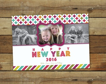 photo new years card, 2016 - bright colors