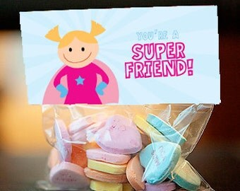 Super hero Valentine's Day treat bag topper, Super Girl - instant download