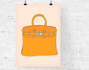 Hermes Birkin Orange Fashion Illustration Art Print