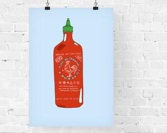 Sriracha Chili Sauce Decorative Foodie Illustration Art Print
