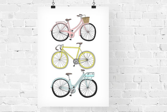 Bicycles Decorative Illustration Art Print