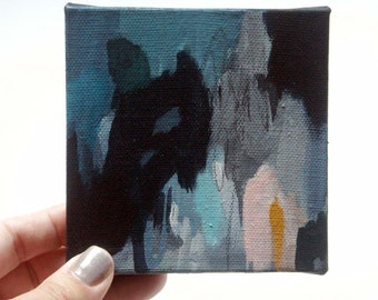 abstract painting, dark pools, two