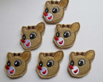 Tan Rudolph Reindeer Felt Embroidered Embellishment - 270
