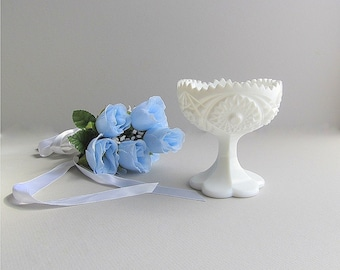 Vintage Milk Glass Bowl, Milk Glass Compote, Milk Glass Pedestal Dish, Footed Dish, Wedding Candy Bar Bowl