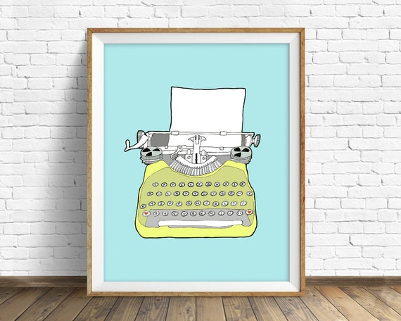"drawing,vintage typewriter, large wall art, modern home decor, mid century modern, blue, yellow, retro decor - ""Vintage Typewriter No. 6"""