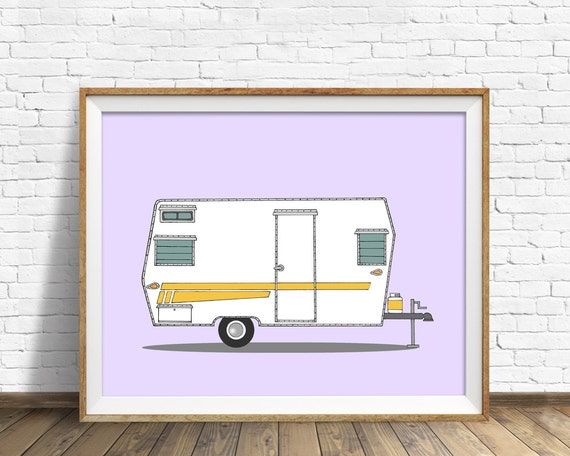 "vintage camper art, drawing, art print, large art, large wall art, purple, lavender, mid century modern decor, print - ""Aristocrat Camper"""