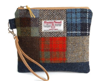 Harris Tweed - One-of-a-Kind - Wristlet - Patchwork - Check - Tartan - Purse - Clutch Bag