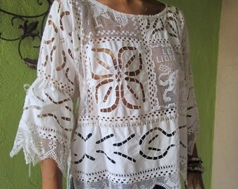 Vintage  French Filet Lace Tunic Remix Upcycled Textile  Embroidery  Ribbon