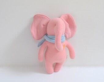 stuffed small Elephant OOAK pink elephant doll eco toy upcycled cashmere sweater Baby shower gift soft plush toy elephant bubynoa Elifants