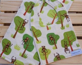 Baby Bibs & Burp Cloths / Monkey Bibs / Monkey Burp Cloths / Bibs and Burp Rags