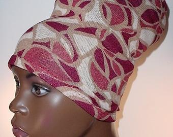 Natural Hair Accessories-HeadBand-HeadTube-Locs-Dreadlocks-Burgundy and Tan