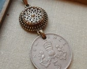 Antique Button Necklace with 1969 New Pence Vintage Coin- Steampunk by Timeless Trinkets