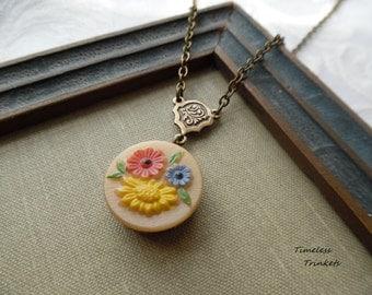 Vintage German Glass Button Necklace-Dutch Garden