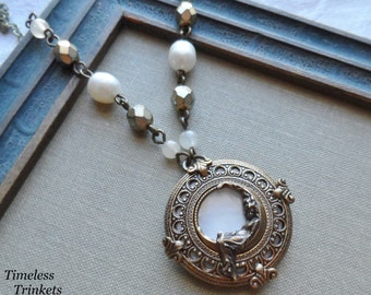 Dream Weaver, Antique Mother of Pearl Button Necklace (Brass Ox)-Style#2