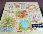 """Reserved for Mimzi! Vintage 1977 """"Christmas Comes to Town"""" Woodland Creatures Springbok  500+ Piece Puzzle New Mint and Never Opened"""