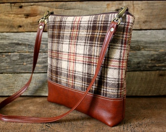 Brown Plaid Wool Bag with Faux Leather Strap