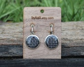 little upcycled screen clasp earrings in black